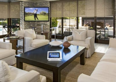 home automation in the living room with automated shades