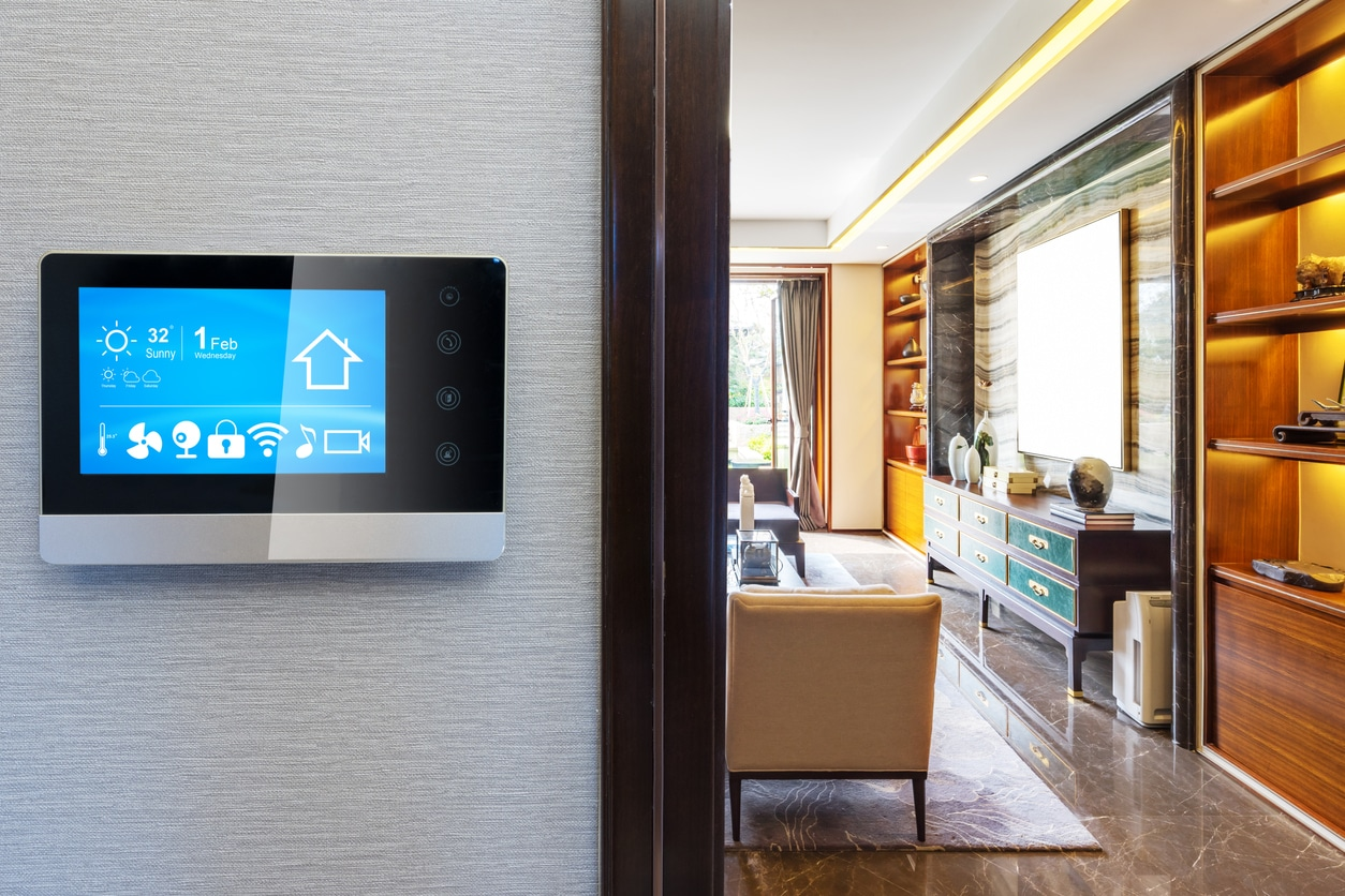 Smart home with control panel.