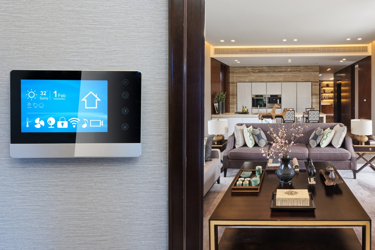 Smart screen with smart home with modern living room.