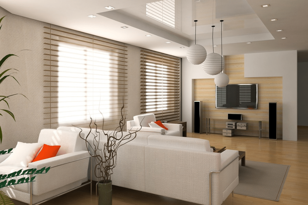 Living room with blinds and TV.