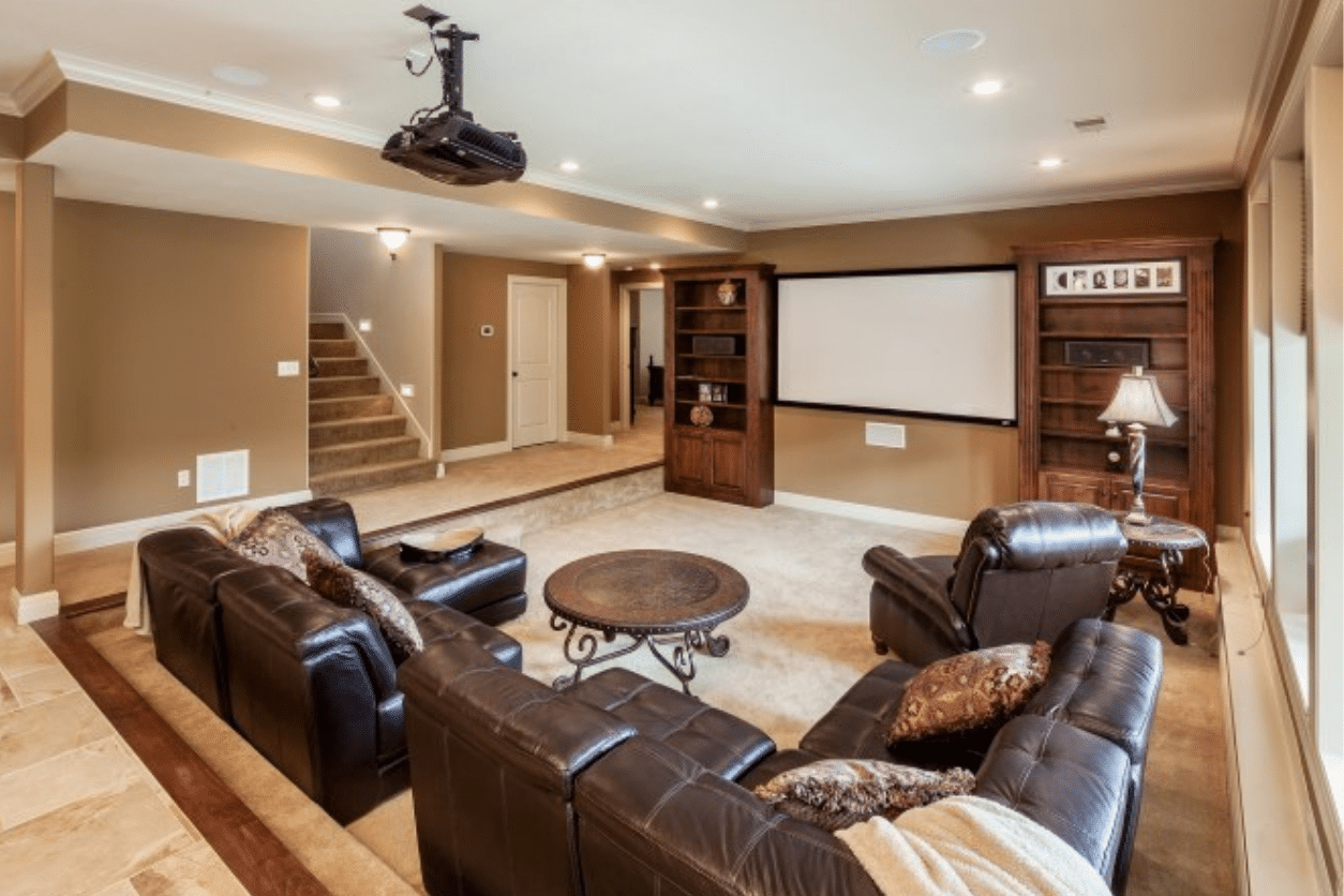 Basement with projector and screen.