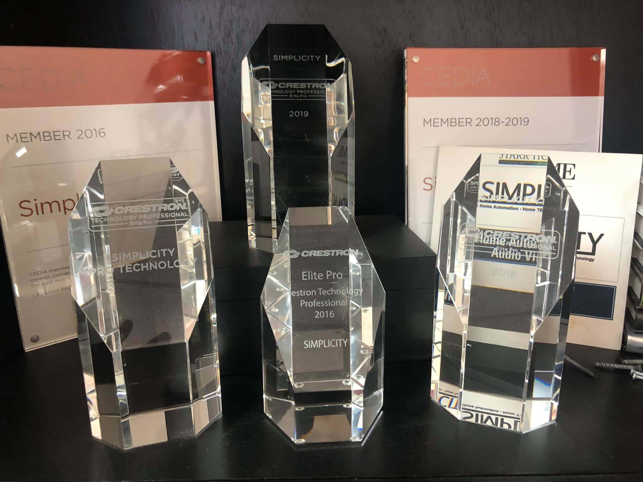 Simplicity crestron elite pro dealer awards.